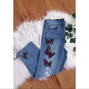🌿Lucky Brand Bridgette Butterfly Embroidered Jean